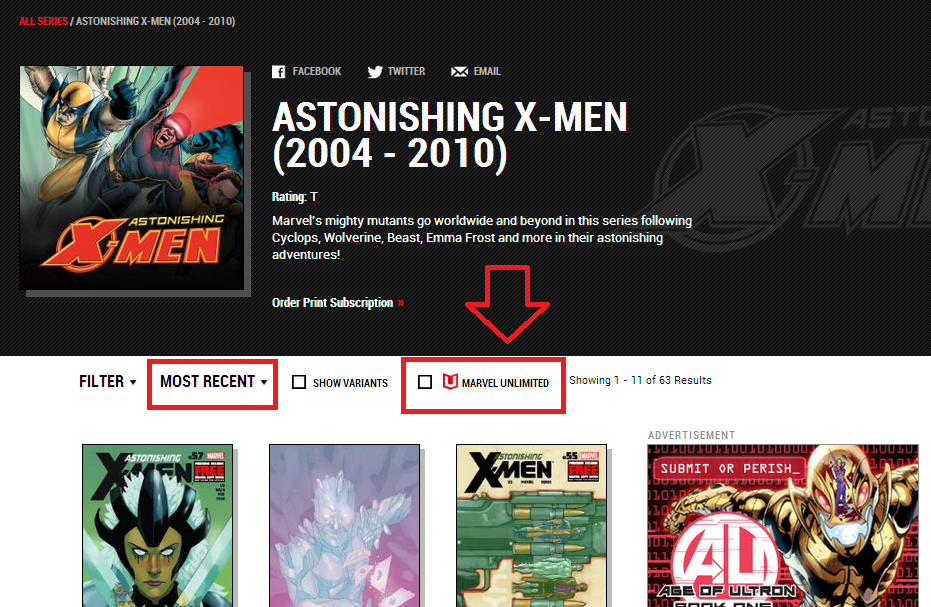 what comics are in the marvel digital unlimited catalog comic