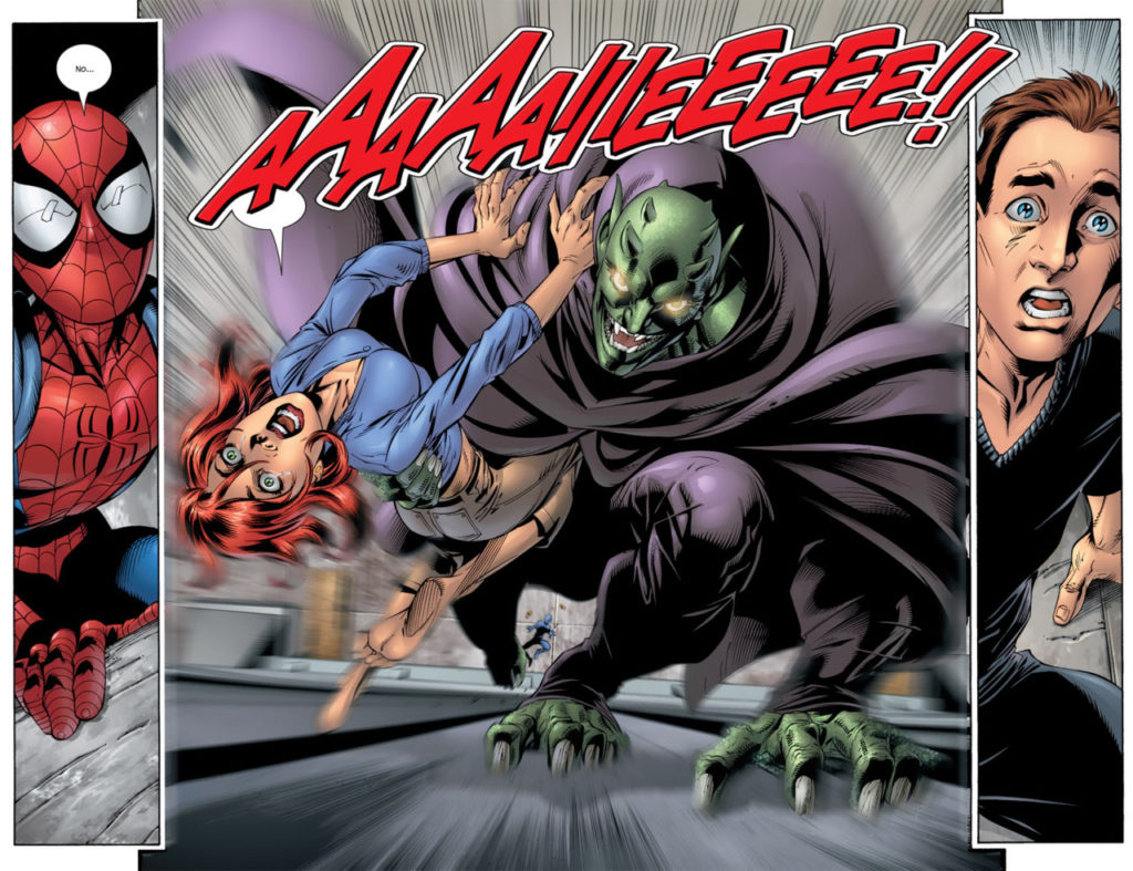 The Green Goblin captures Mary Jane in Marvel's Ultimate Universe