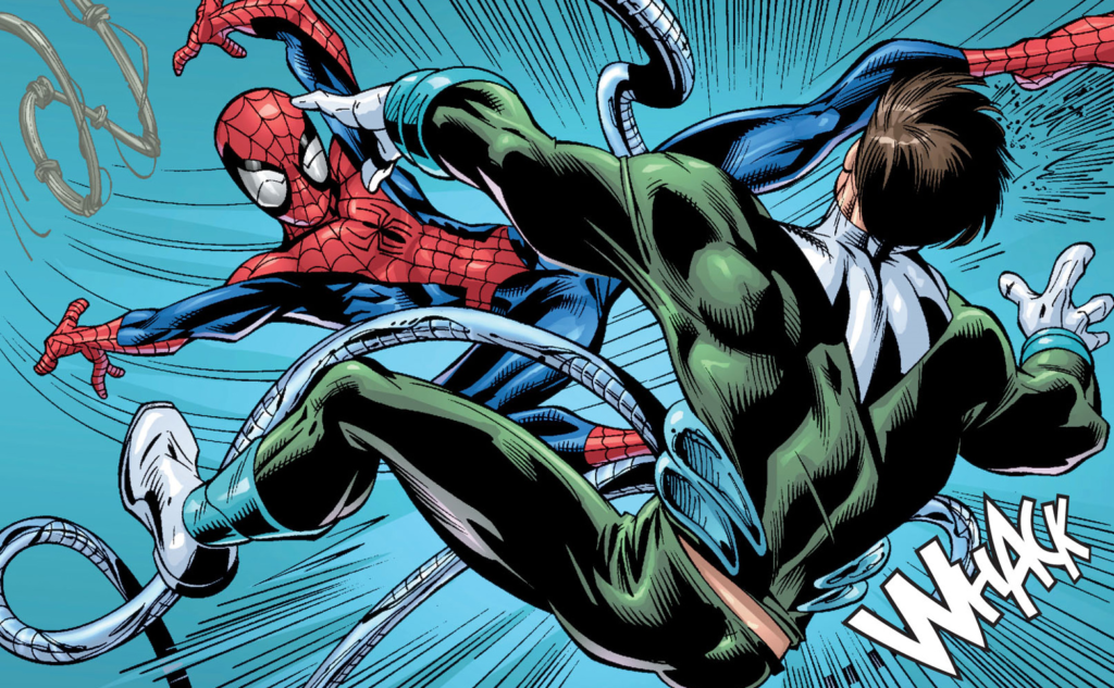 Mark Bagley draws the Ultimate Spider-Man fighting Doctor Octopus