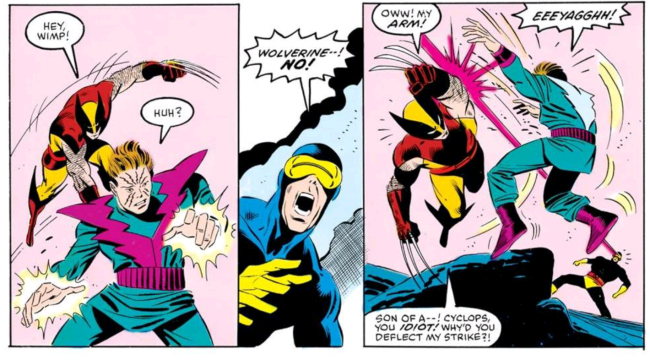 wolverine tries to kill molecule man before cyclops stops him