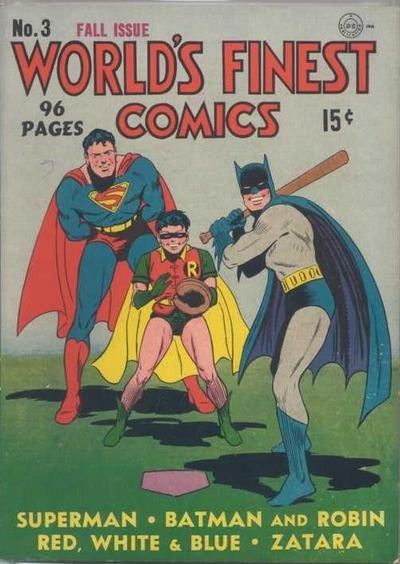 Batman superman and robin playing baseball