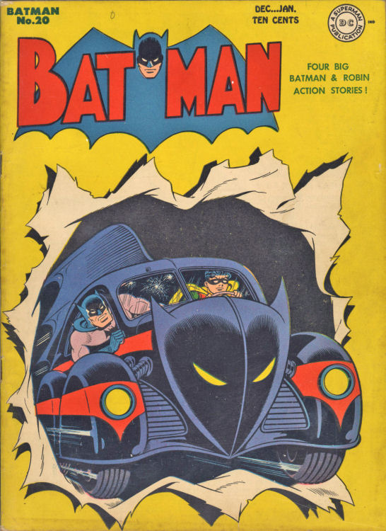 Sprang's now famous cover presents the popular 'Batmobile' on a Batman comic book cover for the first time. Literally bursting through the cover, the Caped Crusader and the Dark Knight are escaping what could be thought of as a shoot out (bullet holes in the windshield) in Jerry Robinson's black and red design with a bat shaped mask front and a big fin.