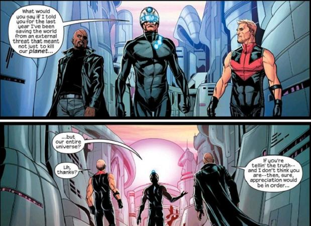"""""""Doors open from both sides, right?"""" (Avengers #44. Art by Stefano Caselli)"""