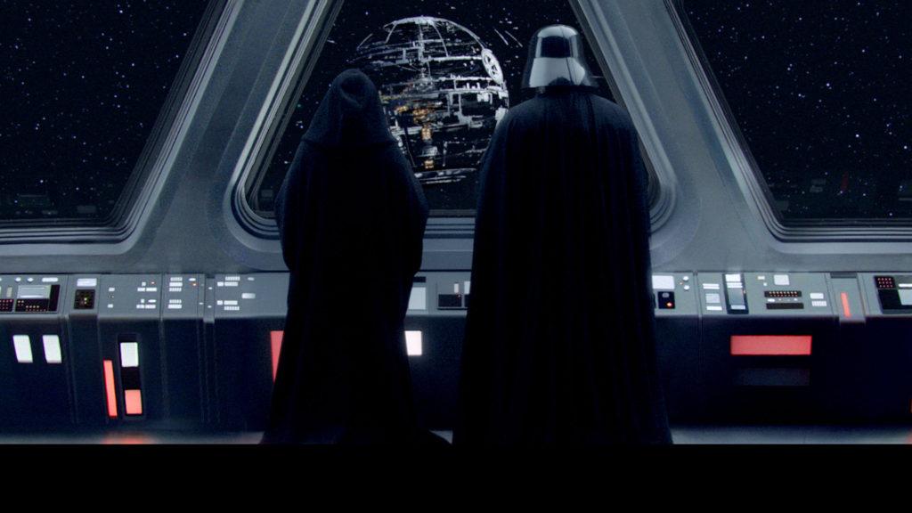 Darth Vader and Emperor stare at Death Star