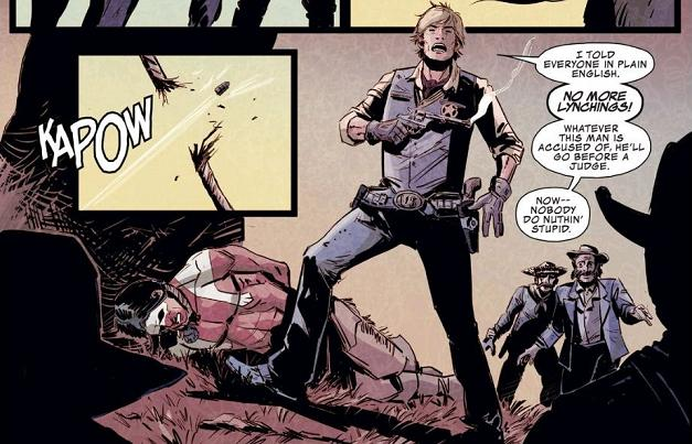 """When Sheriff America shoots his mighty bullet..."" just doesn't have the same ""shield/yield"" catchiness...."