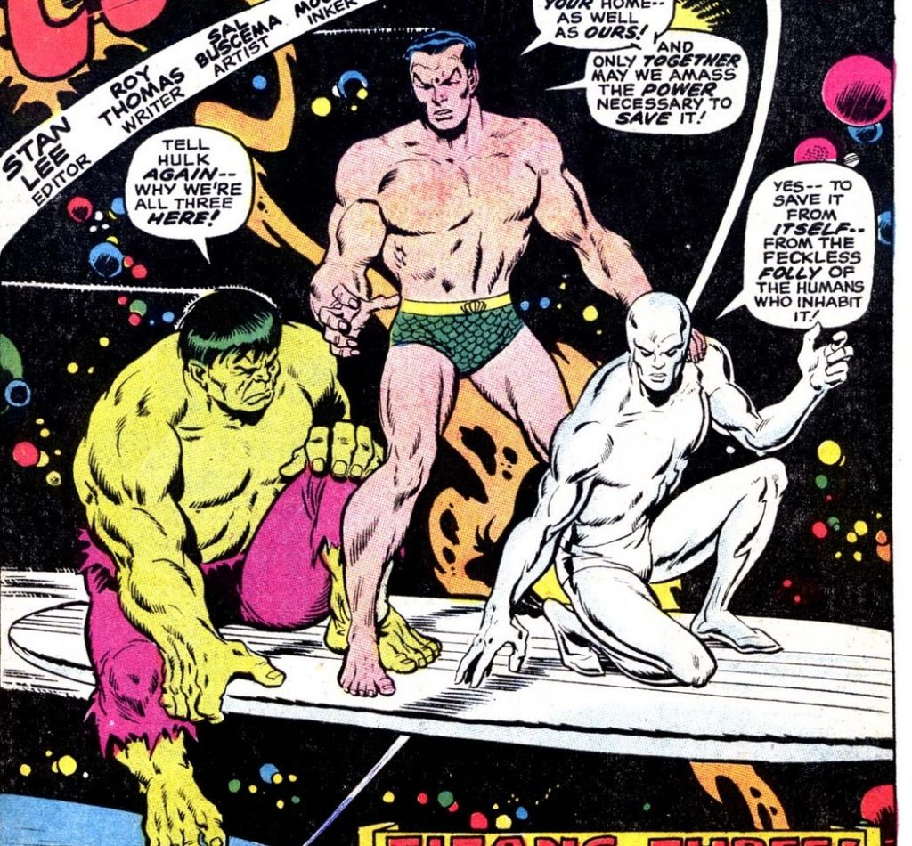 Silver Surfer teams up with the Defenders