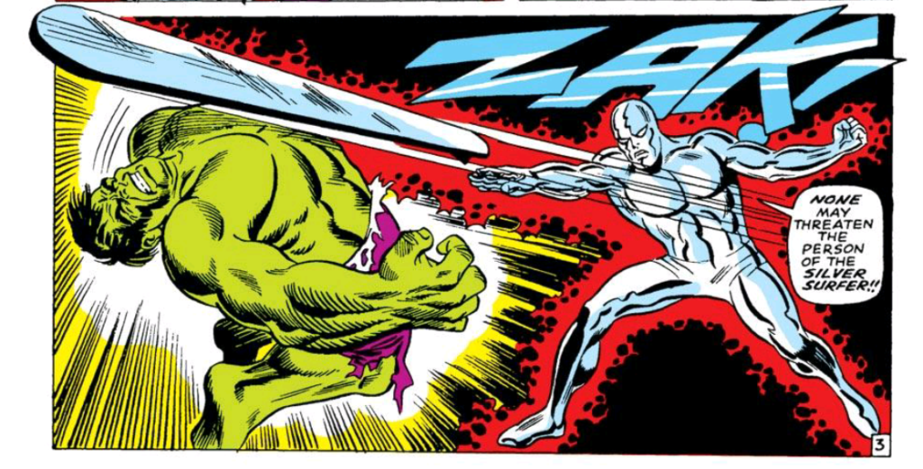 Silver Surfer beats up the Hulk