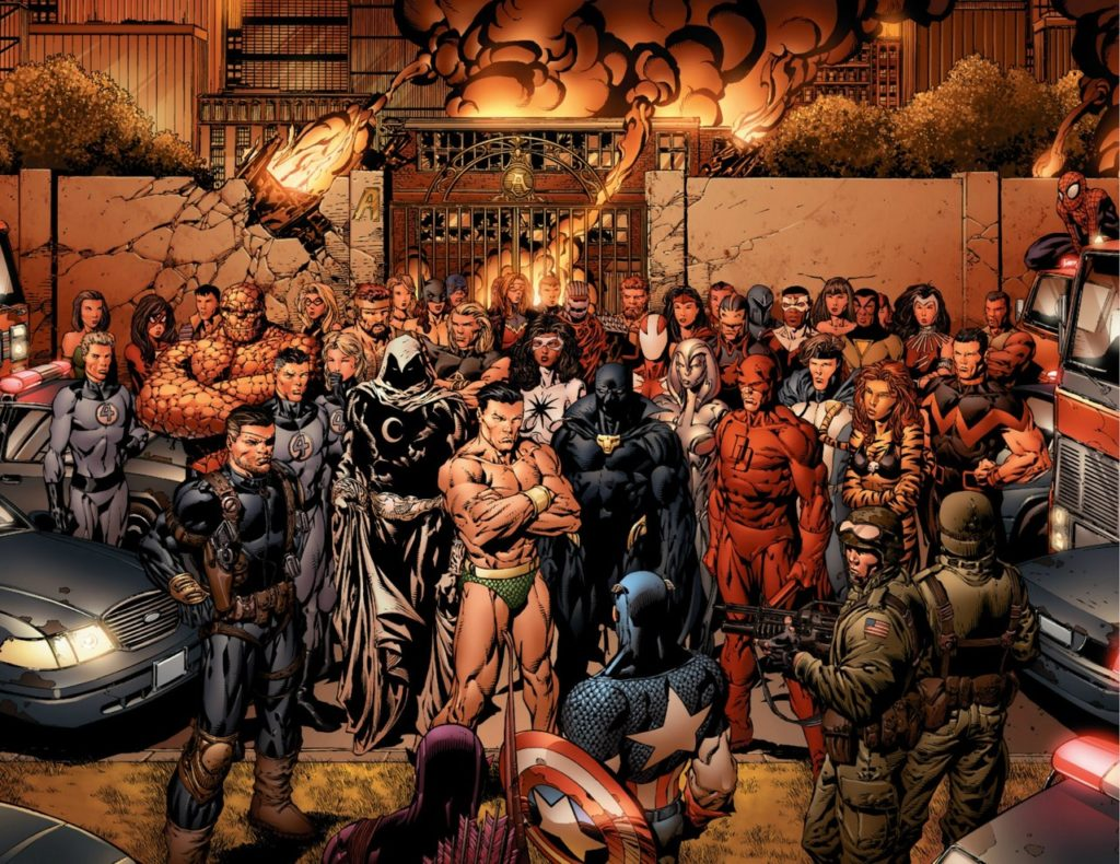 Marvel heroes gather outside Avengers mansion