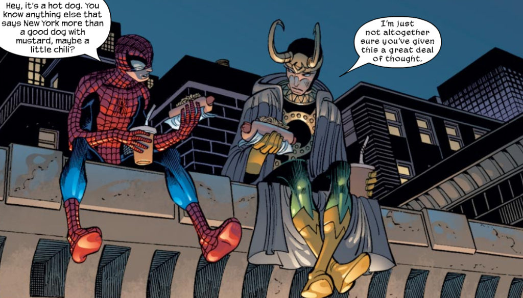 Loki and Spider-Man eat hot dogs