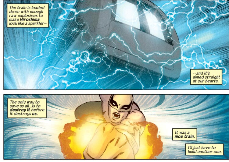 Iron Fist punching a train to death