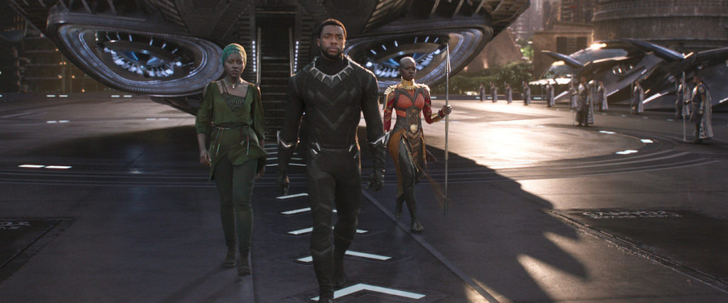 T'Challa, Nakia, and the Dora Milaje