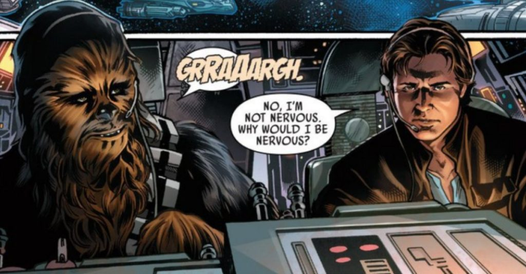 Han Solo pilots the Millenium Falcon with Chewie