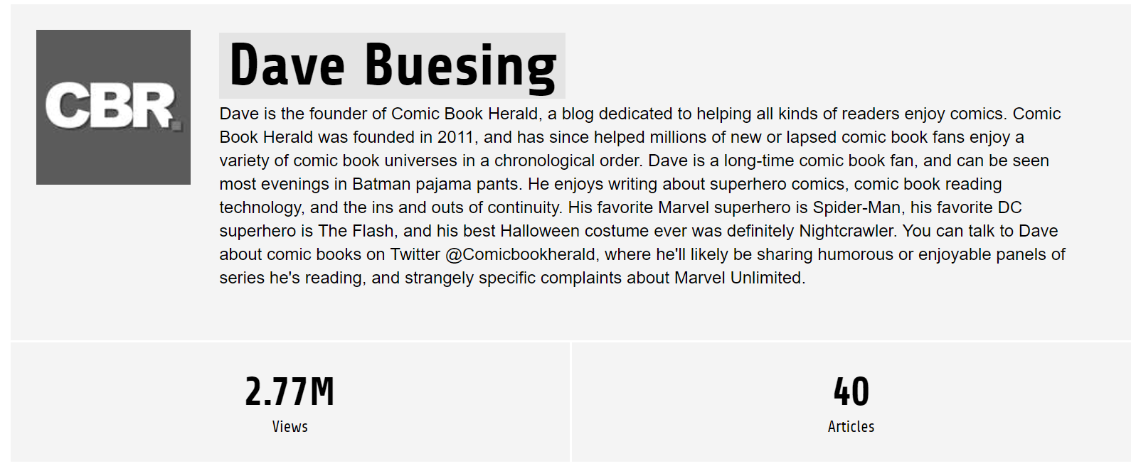 Dave Buesing writing about comic books
