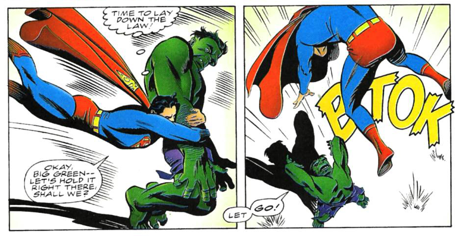 Superman fights the Hulk in this Marvel and DC crossover