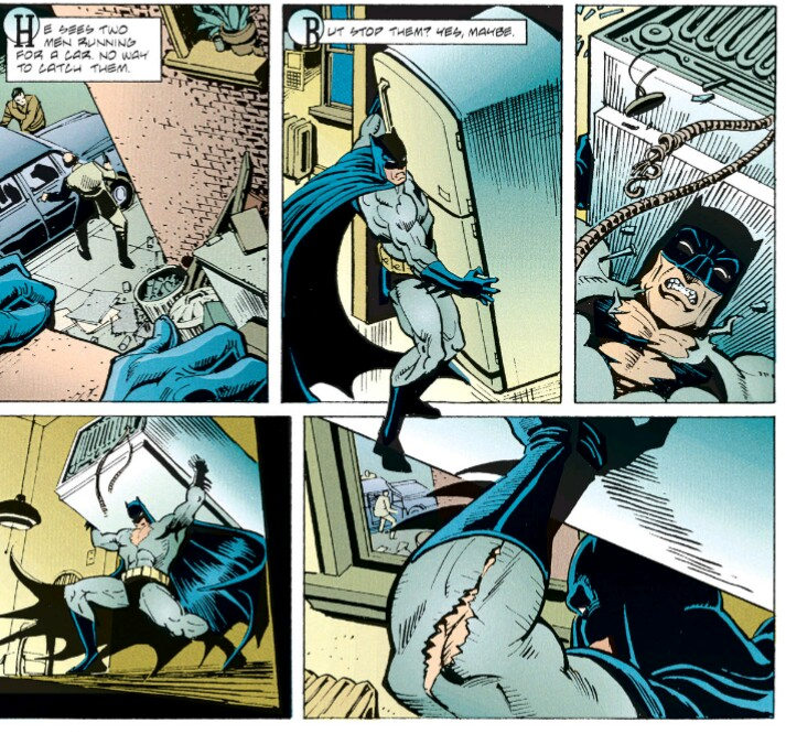 Comic book panels from Batman: Venom