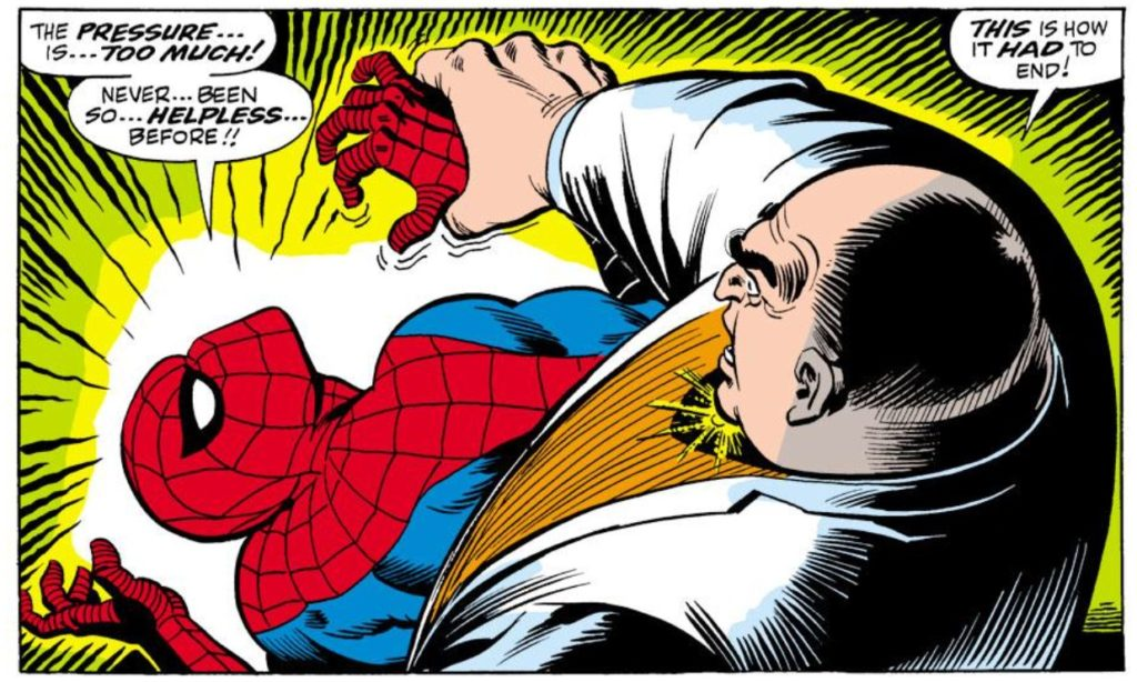 the Kingpin beats up spider-man