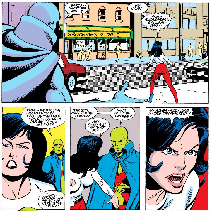 Martian Manhunter and Big Barda in Justice League International