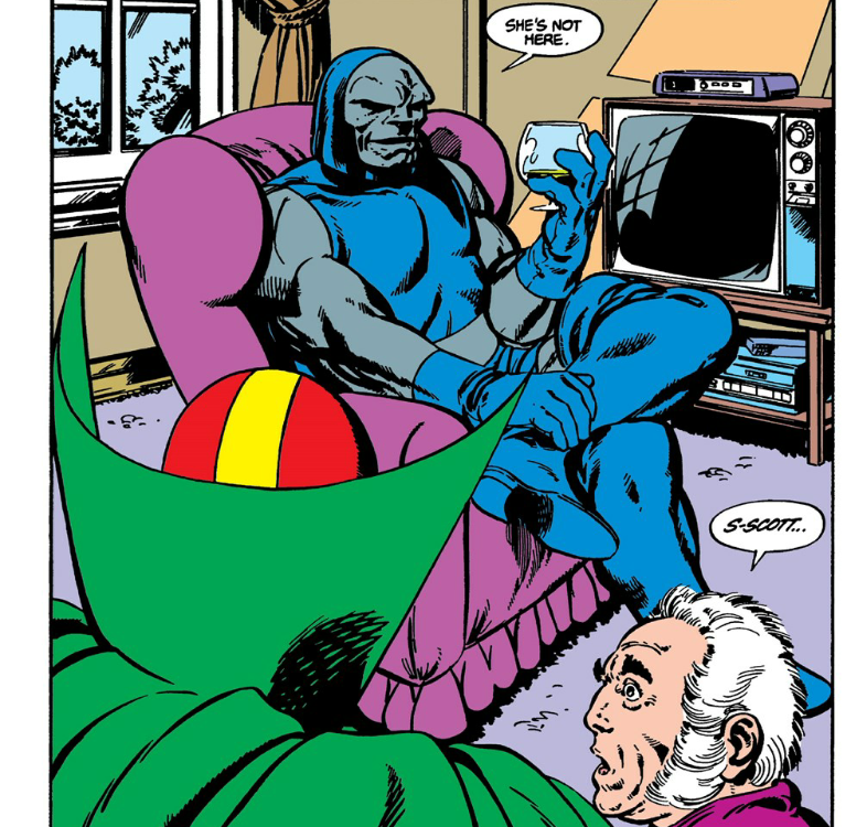 Darkseid waits at home for Mister Miracle and Oberon