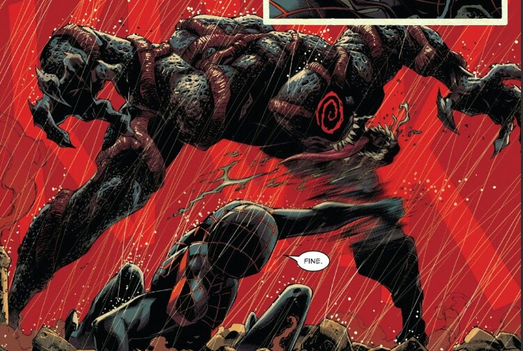 Miles Morales vs Venom in the comic written by Donny Cates and Ryan Stegman