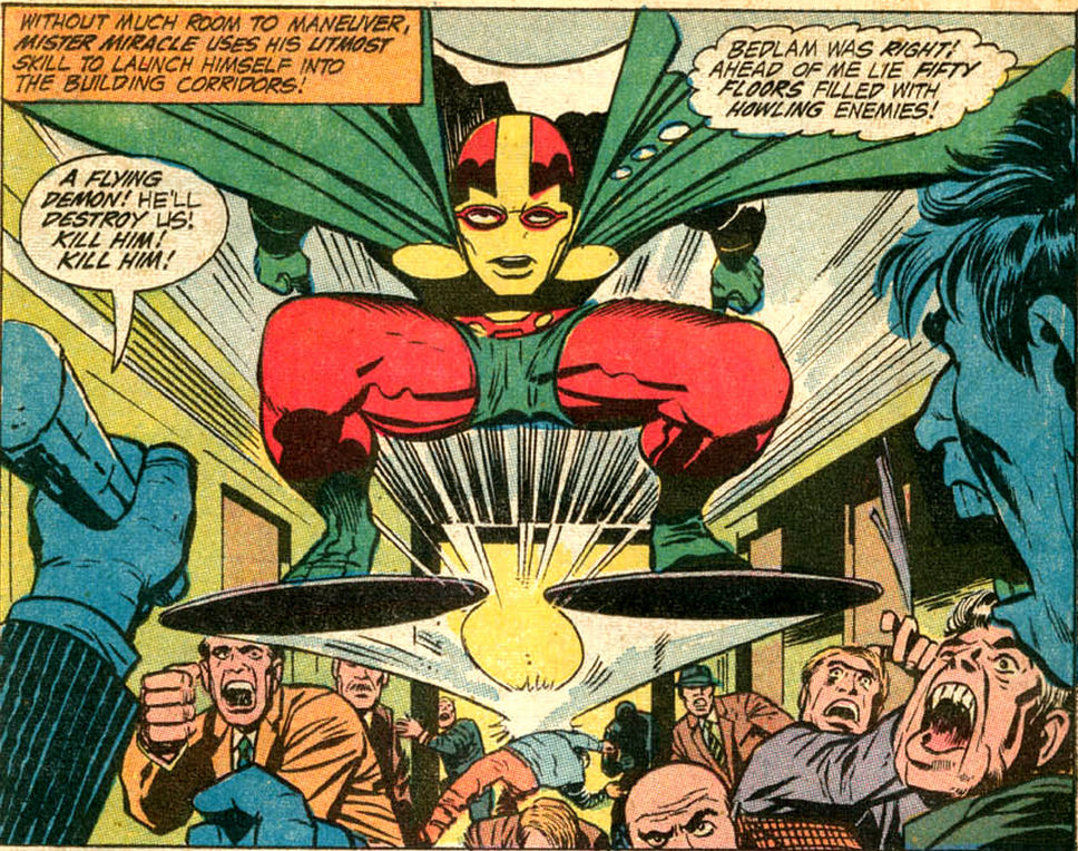 "Mister Miracle in the ""Paranoid Pill"" comic book story by Jack Kirby"
