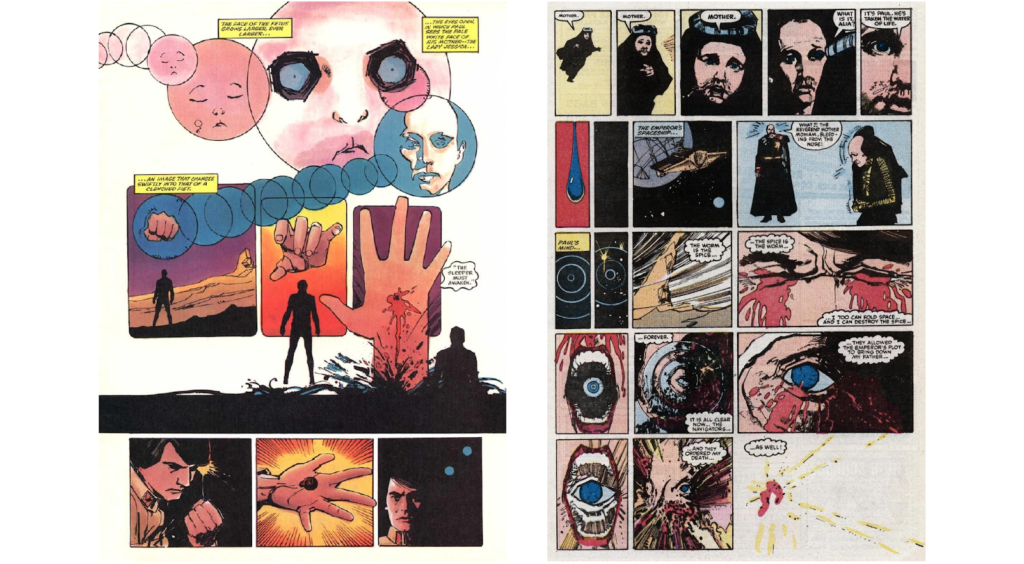 Bill Sienkiewicz art in the pages of Marvel's Dune comic