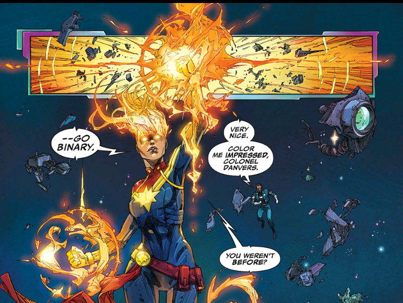 Captain Marvel goes Binary in space during Ultimates comics