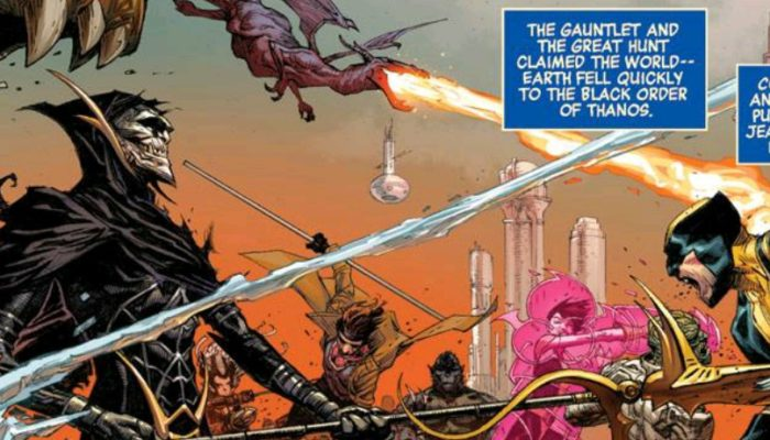 Wolverine stabbed by Corvus Glaive and Black Order