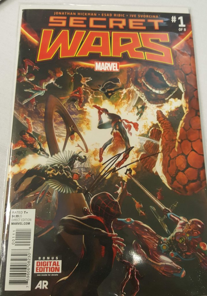 A Jonathan Hickman signature on Marvels Secret Wars 1
