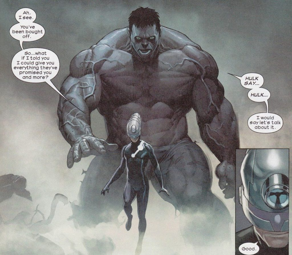 Hulk and Maker talk during Hickman era Ultimates comics