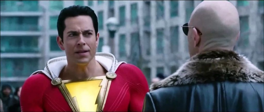 Zachary Levi, as Shazam, meets his archnemesis played by Mark Strong