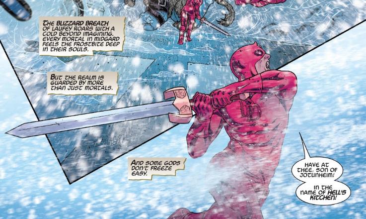 Daredevil versus Frost Giants in War of the Realms comics