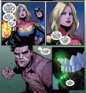 Bruce Banner talks to Captain Marvel about Hulk