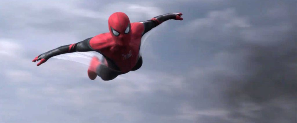 Spider-Man flies on web wings