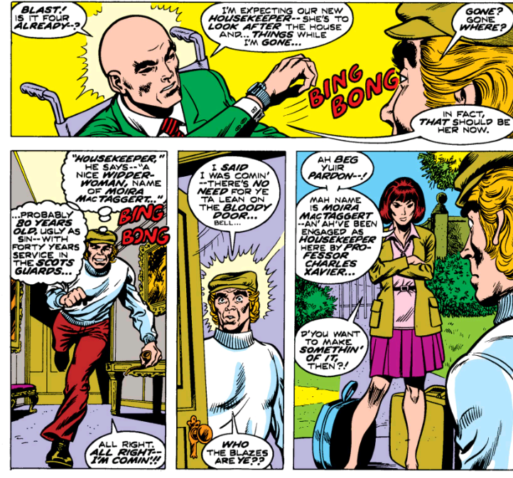 The debut of Moira MacTaggert in Uncanny X-Men