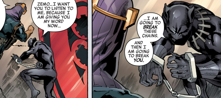 Black Panther threatens Baron Zemo