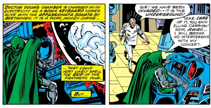 Doctor Doom's keyboard of death in Fantastic Four comics from 1978