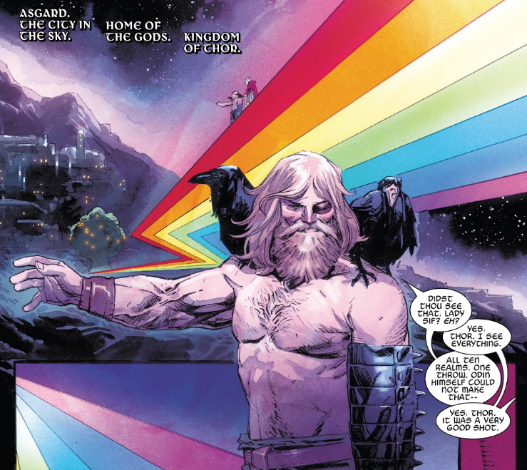 King Thor throws Mjolnir