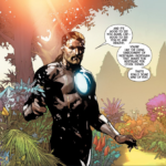 Franklin Richards talks to Captain America in the far future