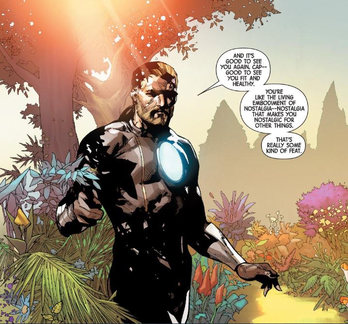 Franklin Richards talks to Captain America in the far future