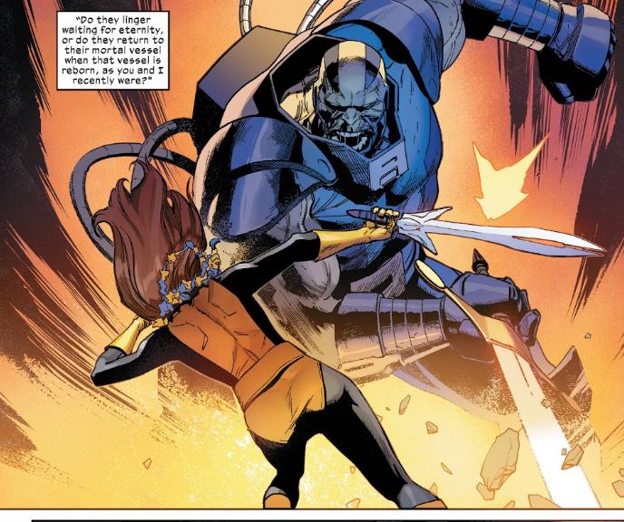 Apocalypse sword fights Melody Guthrie on Krakoa