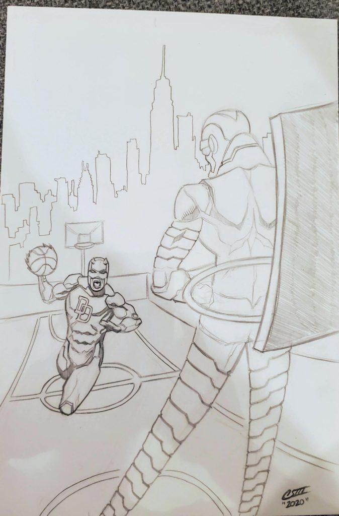 Daredevil vs Stilt-Man 2020 C2e2 basketball sketch