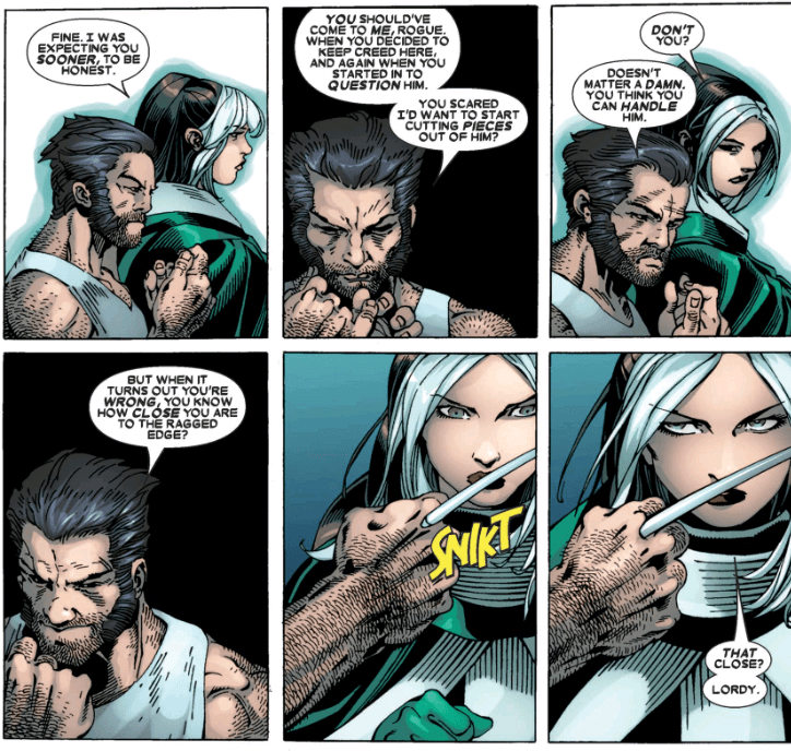 Rogue is unimpressed by Wolverine