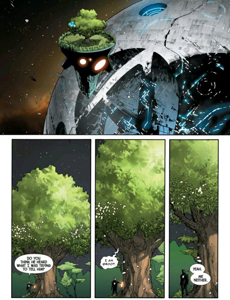 Franklin Richards on a flying Groot in Avengers