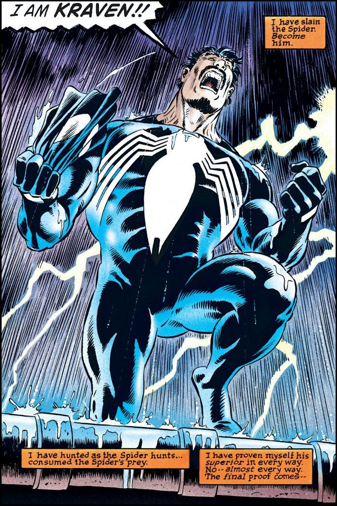 Kraven the Hunter in black Spider-Man costume