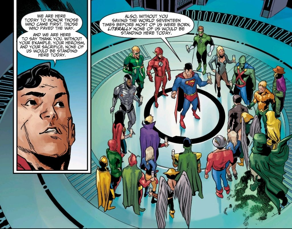 Superman speaks to the Justice League in Injustice