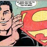Superman holds up the logo in John Byrne comics