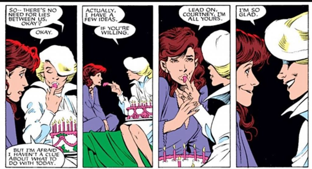 Kitty Pryde and Courntey Ross flirt
