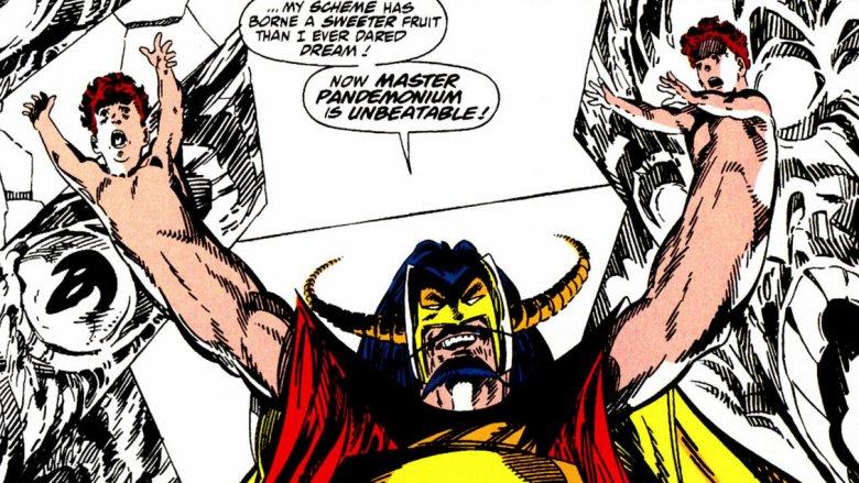 West Coast Avengers by John Byrne with Master Pandemonium and Wanda's kids