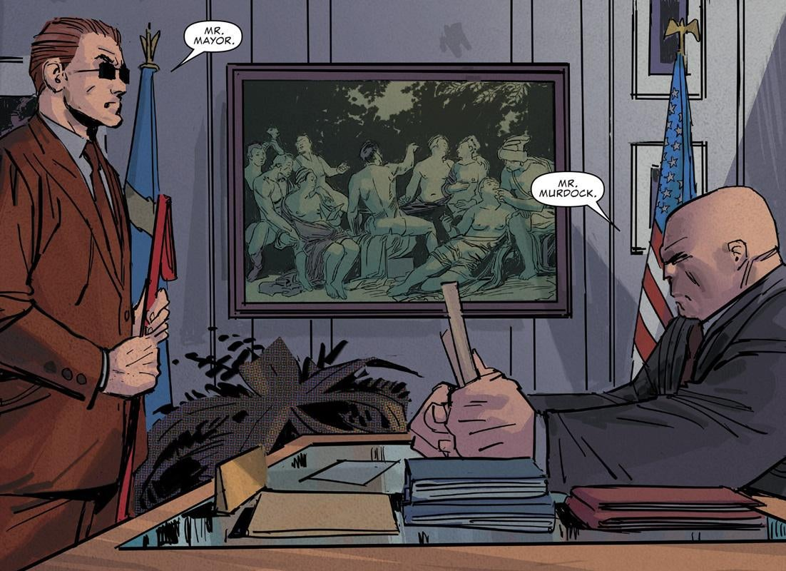 Daredevil Kingpin meet in the mayor's office